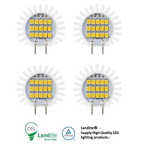 Landlite Dimmable LED G8 bulbs (with Electric Shock Protection ) G8-2018 2.3W warmwhite 4PK for puck light , Ceramic Sunflower (2.3Wx4PK) ... (Dimmable Led Puck Lights compare prices)