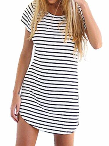 Persun Women Monochrome Stripe Short Sleeve Shift Dress, White, Medium