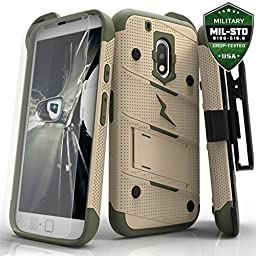 Motorola G4 Plus Case Zizo Bolt Cover with [.33mm 9H Tempered Glass Screen Protector] Included [Military Grade] Armor Case Kickstand Holster Belt Clip