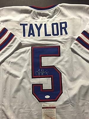Autographed/Signed Tyrod Taylor Buffalo Bills White Football Jersey JSA COA