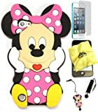 Bukit Cell ® 3D Disney Case Bundle - 5 items: PINK 3D Cute Minnie Mouse Soft Silicone Case Cover for iPod Touch 5 5G 5th Generation + BUKIT CELL Trademark Lint Cleaning Cloth + Minnie Figure Anti Dust Plug Stylus Touch Pen + Screen Protector + METALLIC Stylus Touch Pen with Anti Dust Plug