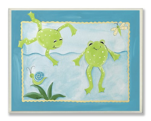 The Kids Room by Stupell Swimming Frog Friends Rectangle Wall Plaque