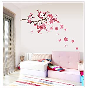OneHouse Spring Element Branch of Peach Wall Sticker for Living Room or Bedroom Decor from OneHouse