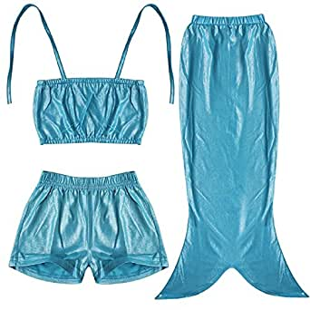 Lovely Little Girls Mermaid Swimsuit Bikini Swimwear 3pcs Set