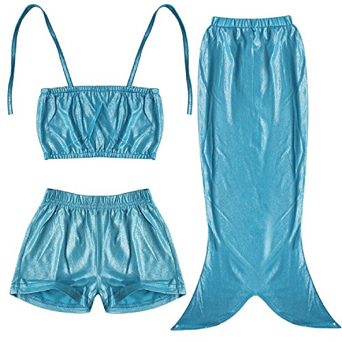 Girls 3PCs Swimmable Mermaid Tail Princess Bikini Bathing Costume Wear (5-6, Blue)