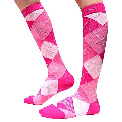 Men/Women Knee High Compression Socks Large Argyle Pink