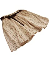 Sweet Beige Girls Pleated Floral Chiffon Mini Skirt with Belt