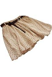 Sweet Beige Girls Pleated Floral Chiffon Mini Skirt with Belt
