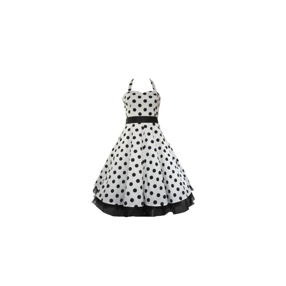 50s Big Polka Dot Dress White & Black