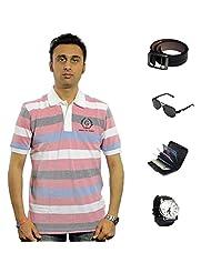 Garushi Multicolor T-Shirt With Watch Belt Sunglasses Cardholder - B00YMLL9QW