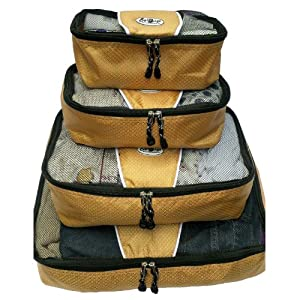 Egobags Deluxe Travel Packing Cubes- 4pc Set, Packing Cubes, Travel Bags Value Sets for Suitcases and Luggage - Gold