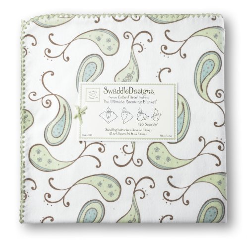 Swaddledesigns Ultimate Receiving Blanket, Triplets Paisley, Kiwi