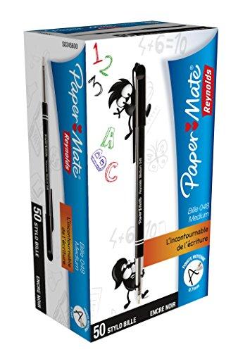 papermate-048-stylo-bille-pointe-moyenne-noir-lot-de-50