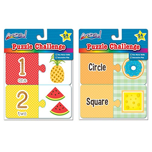 ArtSkills! Puzzle Challenge Number and Shape Puzzles Fine Motor Skills (2 Puzzles)