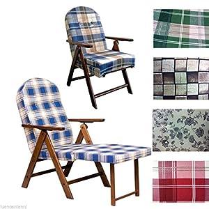 Poltrona sedia sdraio in legno con cuscino relax imbottito for Poltrone relax amazon