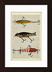 Vintage Fishing Lures 3 Ready To Frame Mounted /Matted and Printed Dictionary Art Print