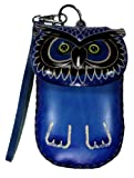 LittleKapsWorld Genuine Leather Wise Owl Coin ID Cell Phone Purse Wristlet – Blue by NYC Leather Factory Outlet