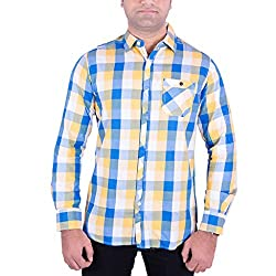 Enovate Men's Slim Fit Cotton Shirt (1020S_Multi-Coloured_Small)