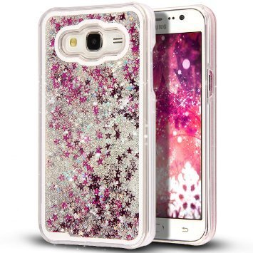 Samsung Galaxy J7- Liquid 3D Bling Glitter Star Cover Flowing Liquid With Glitter Star, Bling Hard Case Back Cover for Samsung Galaxy J7 (Silver) BY mobbysol