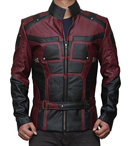 [Daredevil Matt Murdock Red and Black Leather Jacket L] (Daredevil Black Costumes)