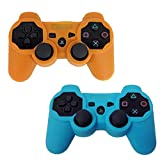 HDE 2 Pack Protective Silicone Gel Cover Skin for Sony Playstation 3 PS3 Gaming Controllers (Orange + Sky Blue)