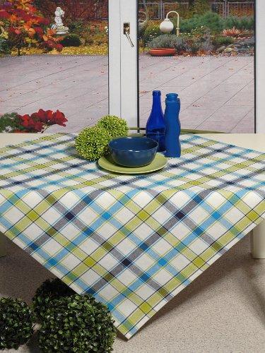 Hochwertig aus reiner Baumwolle - Tischdecke / Mitteldecke kariert grün blau weiss - Größe 85x85 - 100 % Baumwolle , auch Tischläufer , Platzset , Backhandschuh , Brotkorb und andere Artikeln im gleichem Design erhältlich - für Ihre Küche und alle Wohnräume