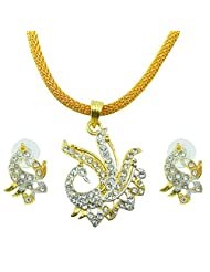 "AAKSHI ""Mayuri Milan, Peacock In Summer Nights"" CZ Diamond Studded Plated 3-piece Jewellery Set"