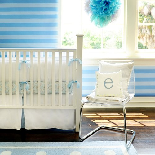 New Arrivals White Pique Crib Skirt, Blue Trim