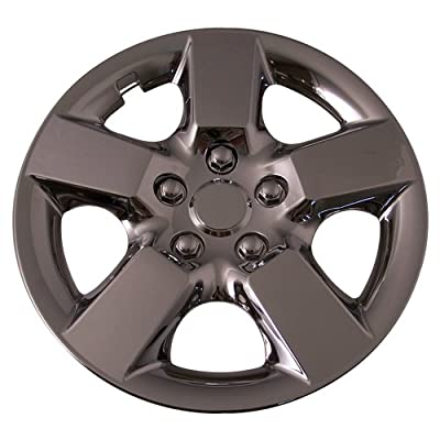 Set of 4 Chrome 16 Inch Replacement Hubcaps with Clip Retention System Aftermarket: IWC443/16C