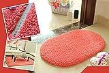 Blogger Super Soft Nonslip Microfiber Beijirong Ellipse Door Mat Floor Mat Bedroom Area Rug Carpet(Watermelon red)