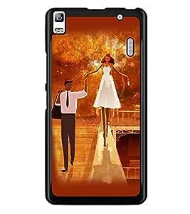 PrintDhaba Couple D-4639 Back Case Cover for LENOVO A7000 (Multi-Coloured)