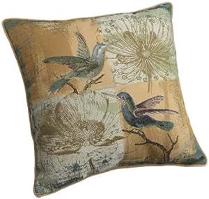 Brentwood 18-Inch Bird Tapestry Pillow, Yellow Bird