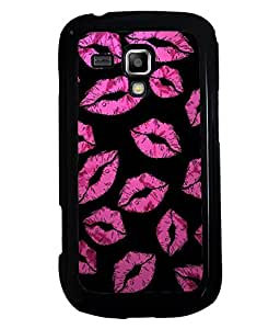 PRINTVISA Pink Lips Premium Metallic Insert Back Case Cover for Samsung Galaxy S Duos 2 S7582 - D6056