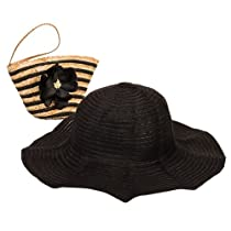 Black Sun Lily Foldable Beach Hat w/ Small Wristlet Tote Bag
