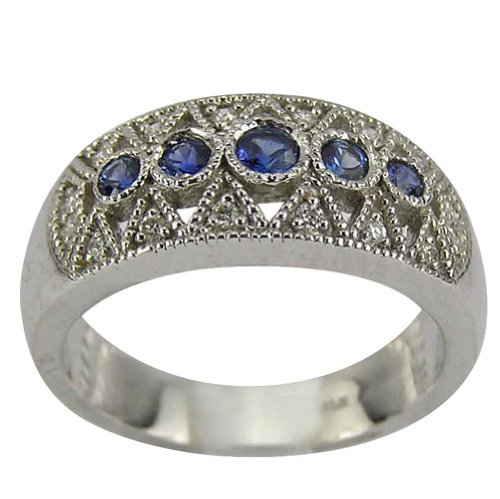 Sterling Silver Blue Sapphire and Diamond Antique Wedding Band - 8.5
