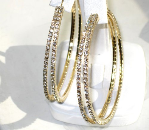 Sparkly beautiful Swarovski double hoop earrings 30mm (1.2 inch) finished in 18kt gold electroplate. Outstanding quality designer jewellery.
