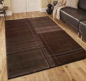 Chocolate Brown Soft Touch Quality Modern Contemporary Designer Home Floor Rug by Modern Style Rugs