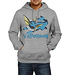 Fanideaz Men's Cotton Faporeon Pokemon Hoodies For Men (Premium Sweatshirt)_Grey Melange_L