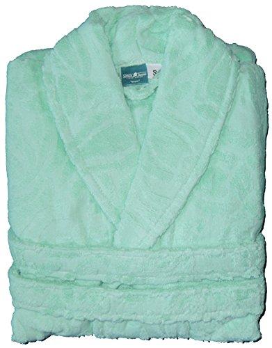 Frottee Bademantel aus 100% Baumwolle, uni einfarbig hellgrün, abstrakt gemustert, Morgenmantel, Frottier, Unisex für Damen und Herren (S, hellgrün-abstrakt-Muster)