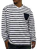 (マルカワジーンズパワージーンズバリュー) Marukawa JEANS POWER JEANS VALUE 大きいサイズ Tシャツ メンズ ブランド 長袖 ロンT ボーダー Vネック 2color LL ホワイト