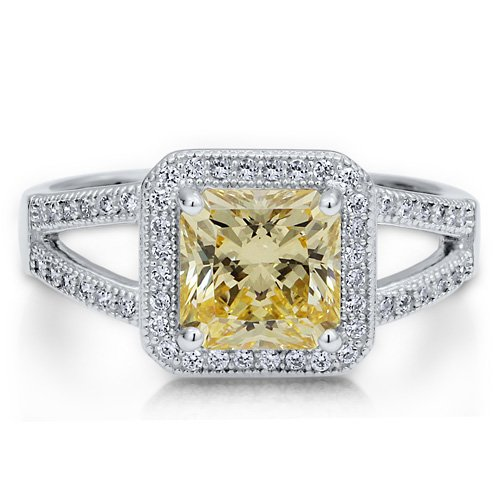 Sterling Silver 925 Princess Canary Cubic Zirconia CZ Split Shank Ring - Nickel Free Engagement Wedding Ring Size 5