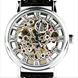 Orkina Mens Silver Case Hollow Mechanical Dial Quartz Leather Strap Wrist Watch KC112SB