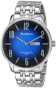 Armitron Men's 20/4982DBSV Day/Date Function Blue Dial Silver-Tone Bracelet Watch