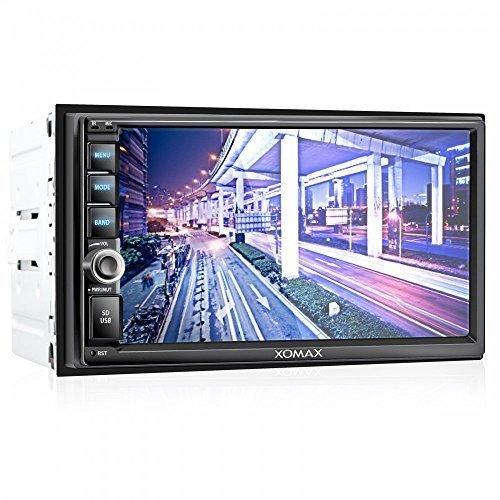 XOMAX-XM-2VRSU732BT-Autoradio-Moniceiver-mit-Bluetooth-Freisprechfunktion-Musikwiedergabe-7-Zoll-18-cm-Bildschirm-Touchscreen-Display-LED-Beleuchtungsfarben-frei-einstellbar-Audio-und-Videowiedergabe-