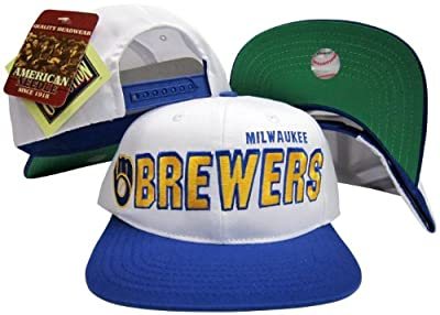 Milwaukee Brewers Two Tone Plastic Snapback Adjustable Plastic Snap Back Hat / Cap