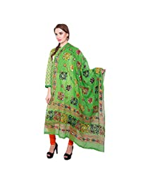 VASTRAA FUSION THREAD EMBROIDERED AARI WORK ETHNIC COTTON DUPATTA - GREEN