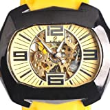 Goer Silicon Rubber Band Army Military Men Auto Mechanical Wrist Watch Yellow