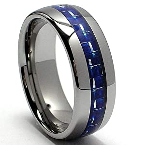 8MM Dome Tungsten Carbide Ring Wedding Band W/ Blue Carbon Fiber Inlay Size 9