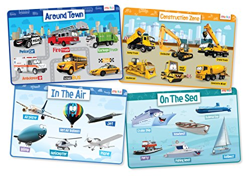 Cars, Contruction Vehicles, Planes and Boats Set of 4 Educational Kids Placemats – Non Slip Washable