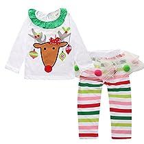 BOBORA Baby Girls Christmas Reindeer Long Sleeve Shirt + Cake Dress 2 Pcs Set